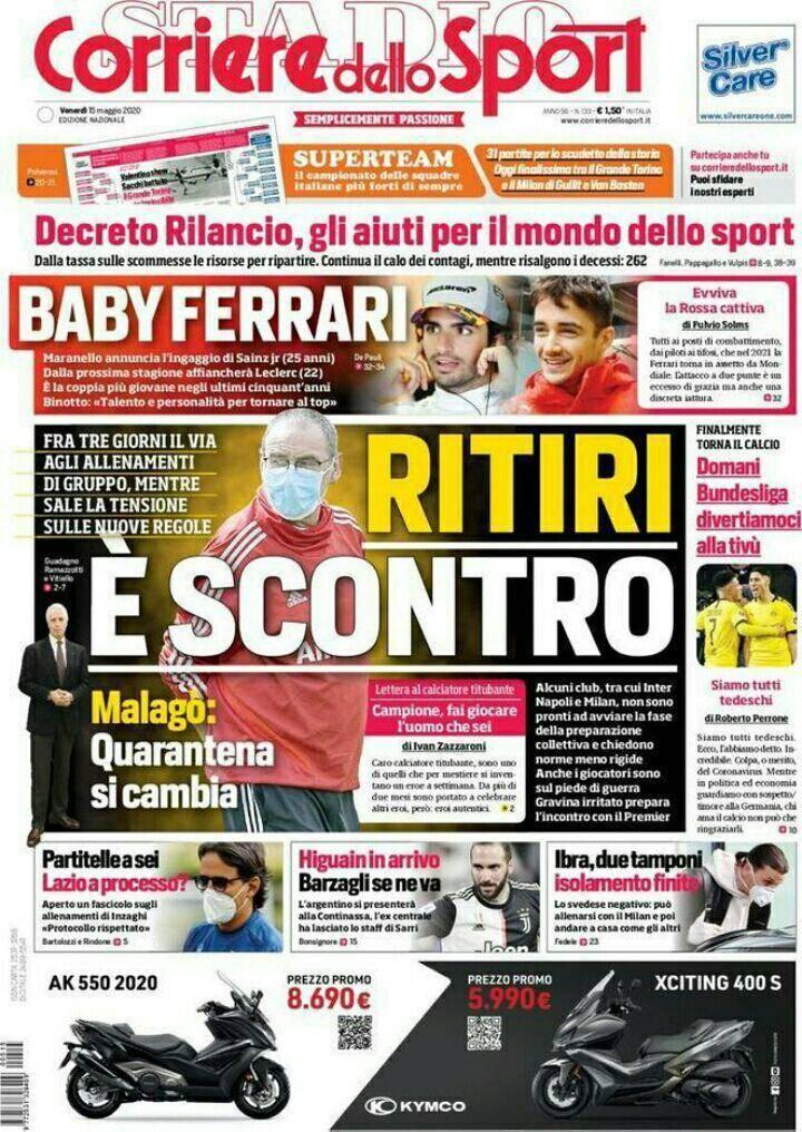 Corriere dello Sport, prima pagina 15 maggio 2020