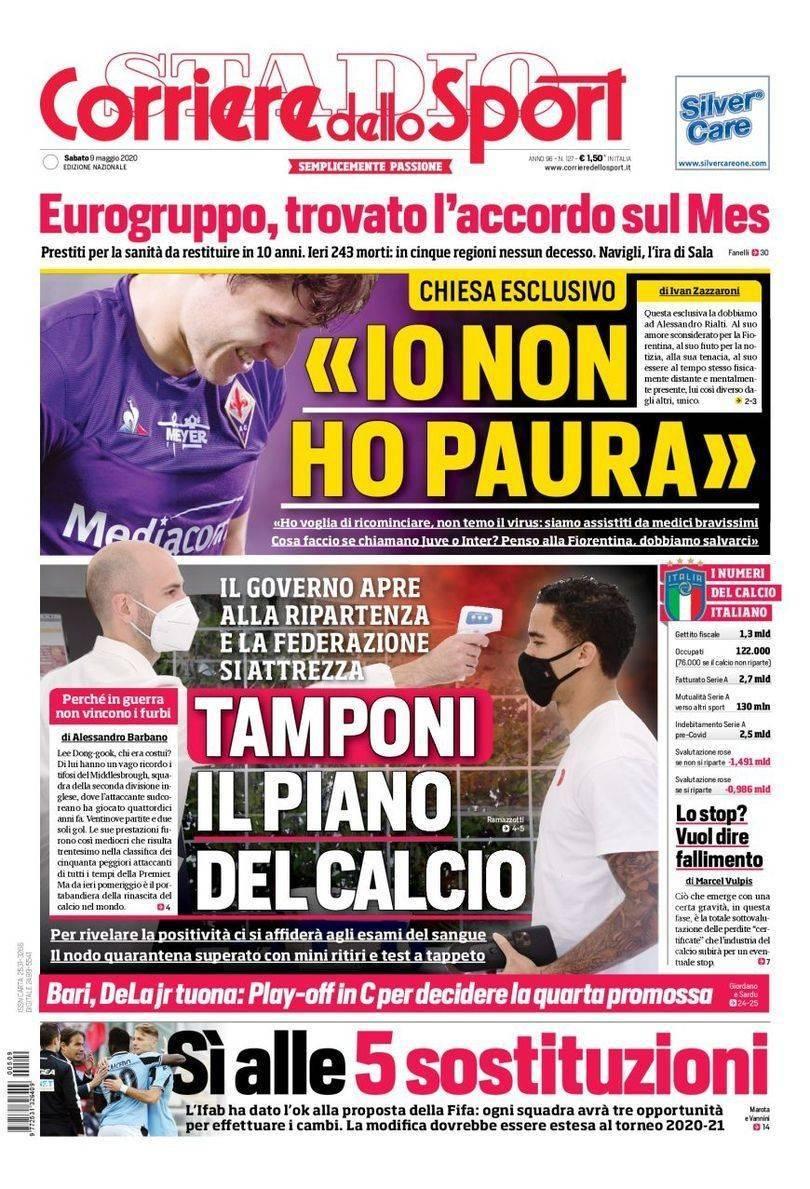 Corriere Dello Sport Prima Pagina Sabato 9 Maggio 2020