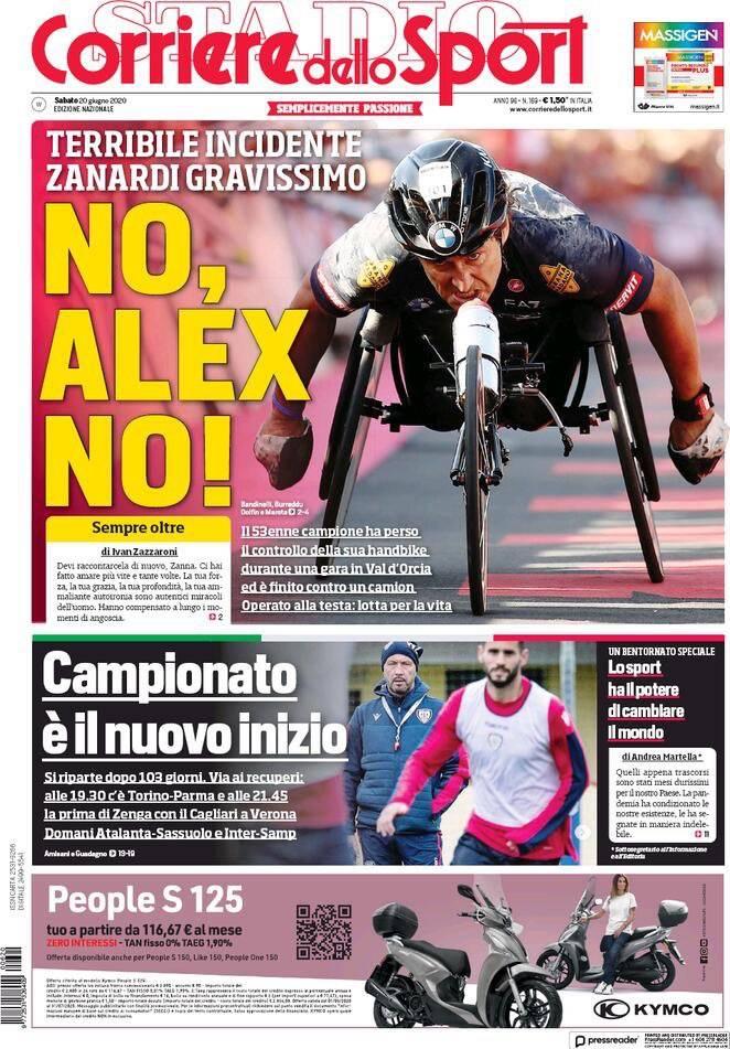 Corriere dello Sport, prima pagina sabato 20 giugno 2020