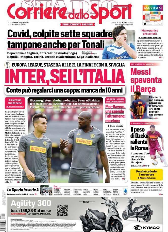 Corriere Dello Sport La Prima Pagina Del 21 Agosto Inter Sei L Italia