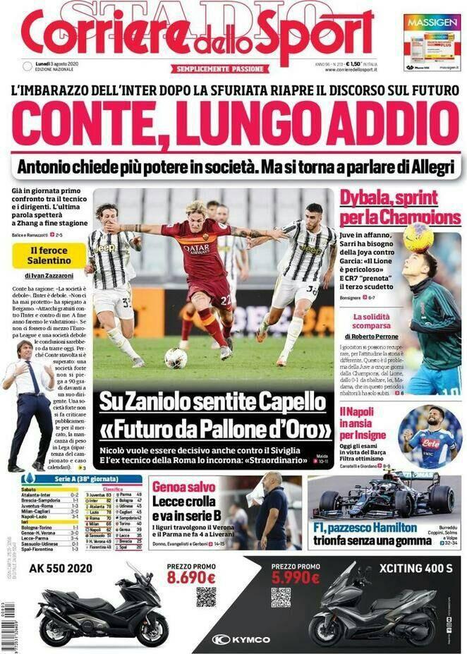 Corriere Dello Sport Prima Pagina Lunedi 3 Agosto 2020