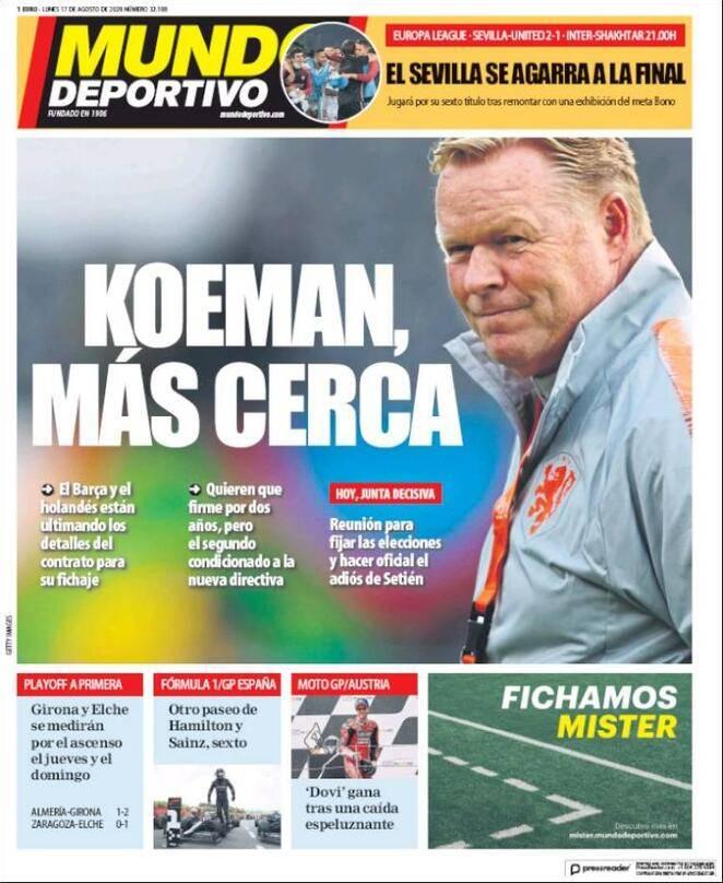 Prima pagina Mundo Deportivo 17 agosto