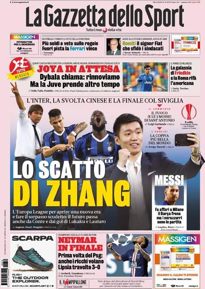 Prima pagina Gazzetta 19 agosto