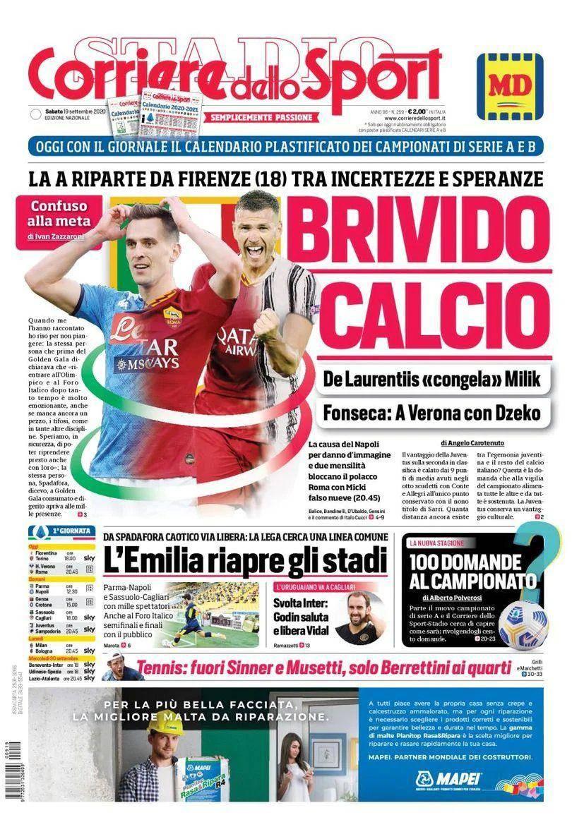Corriere Dello Sport Prima Pagina 19 Settembre 2020