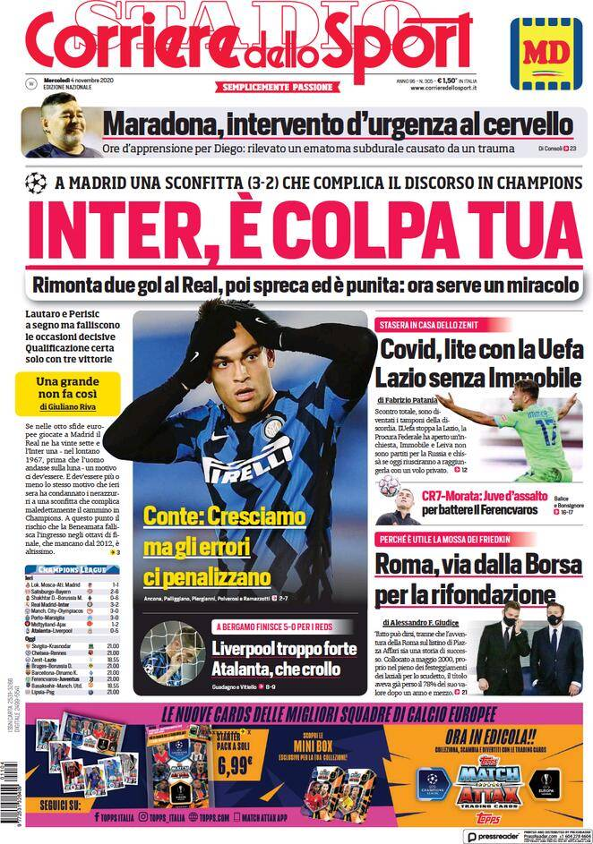 Corriere dello Sport, prima pagina 4 novembre 2020