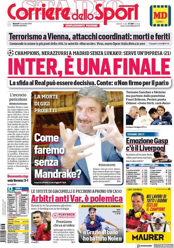 Corriere Dello Sport Prima Pagina 3 Novembre 2020