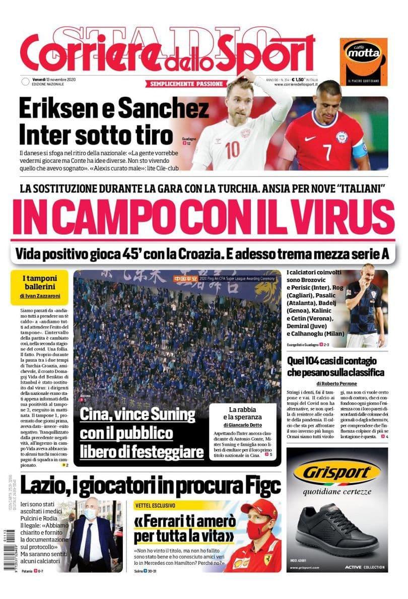Corriere dello Sport, prima pagina 13 novembre 2020
