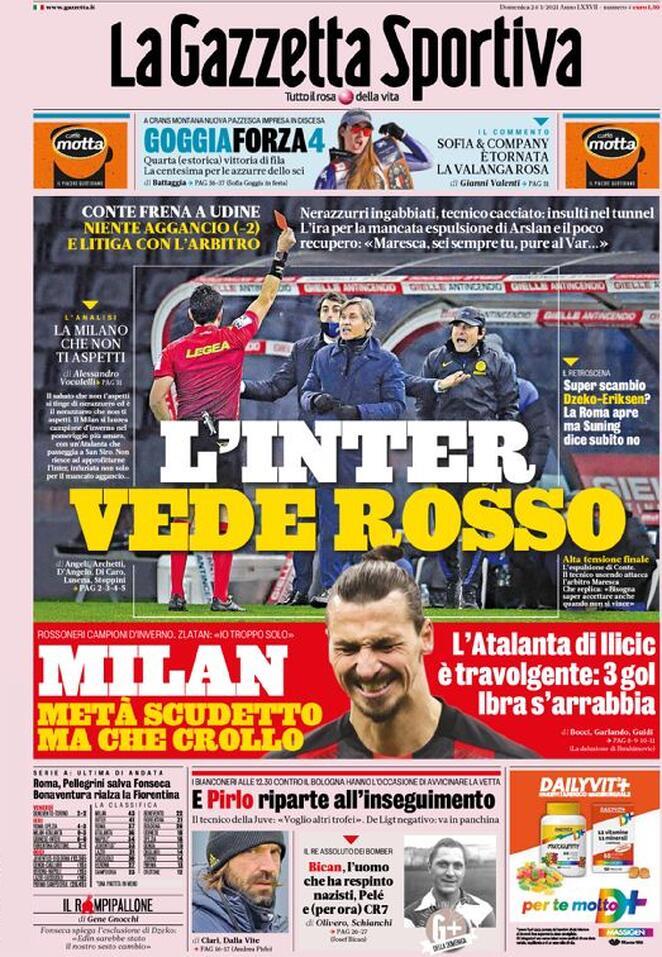 La Gazzetta dello Sport, prima pagina: L'Inter vede rosso