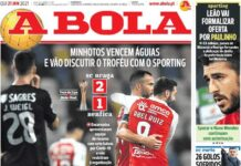 A Bola, la prima pagina di oggi 21 gennaio 2021