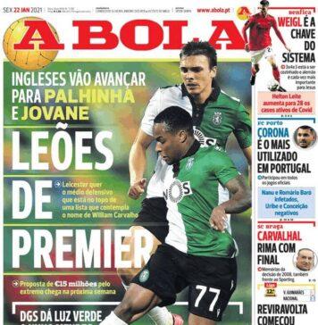 A Bola, la prima pagina di oggi 22 gennaio 2021