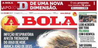 A Bola, la prima pagina di oggi 28 gennaio