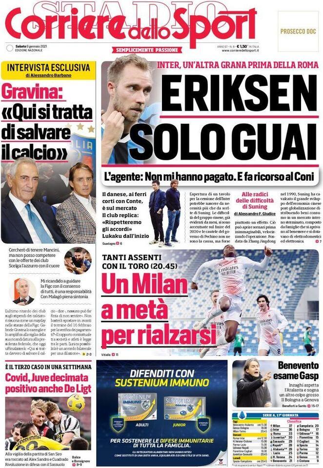 Corriere dello Sport, prima pagina 9 gennaio 2021