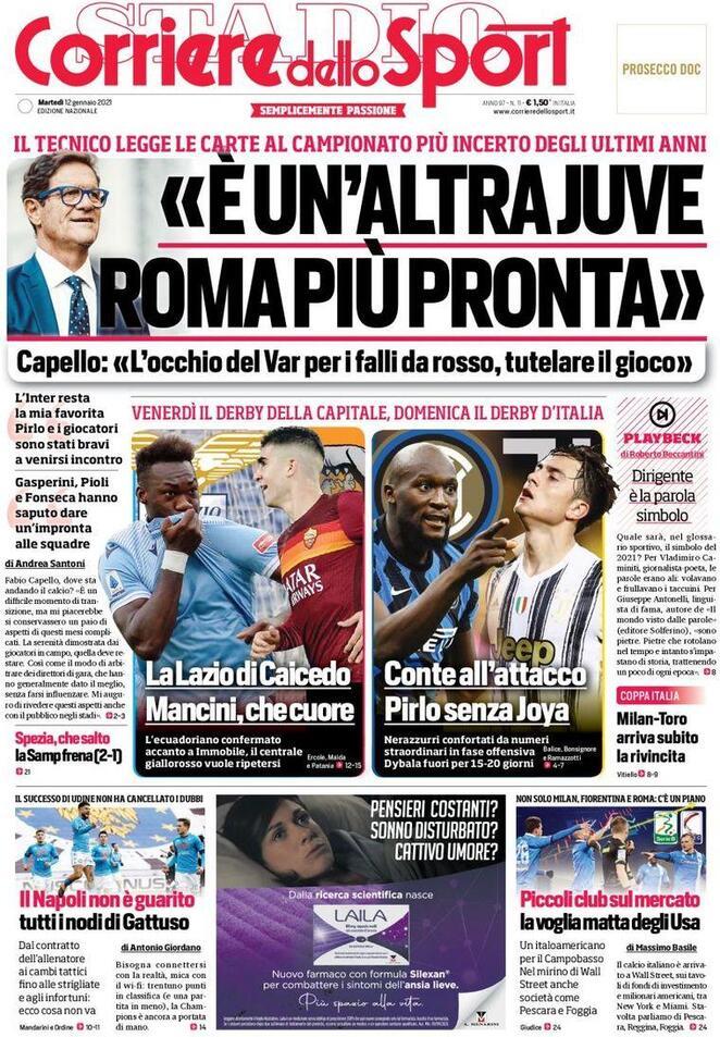 Corriere dello Sport, prima pagina 12 gennaio 2021