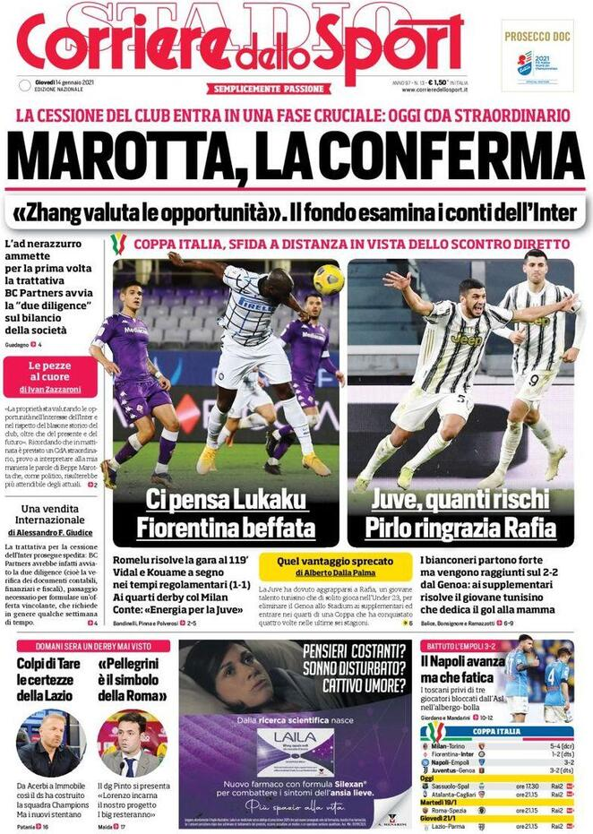 Corriere dello Sport, prima pagina 14 gennaio 2021