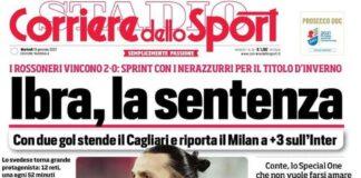 Corriere dello Sport, la prima pagina del 19 gennaio