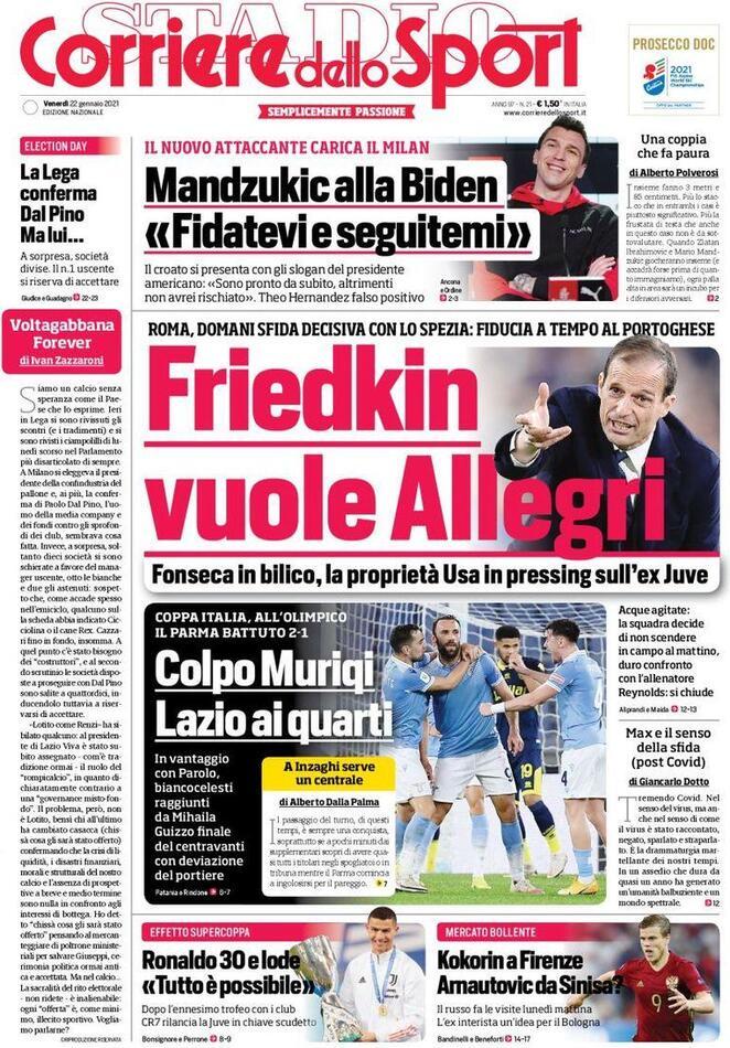 Corriere dello Sport, la prima pagina del 22 gennaio