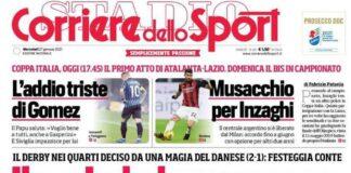 Corriere dello Sport, la prima pagina del 27 gennaio