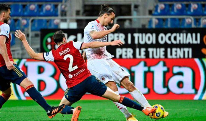 Cagliari-Milan, scintille tra Ibrahimovic e Godin