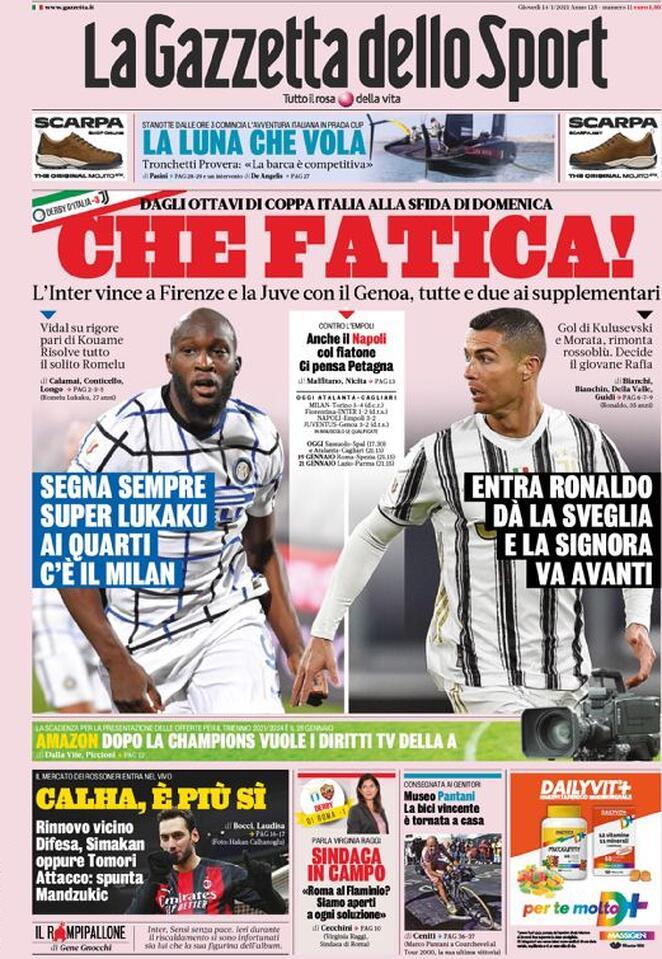 La Gazzetta dello Sport, prima pagina del 14 gennaio