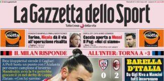 La Gazzetta dello Sport, la prima pagina del 19 gennaio