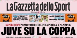 La Gazzetta dello Sport, la prima pagina del 21 gennaio