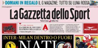 La Gazzetta dello Sport, la prima pagina del 26 gennaio