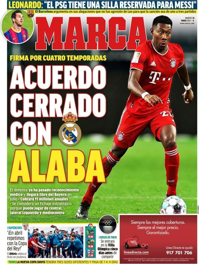 Marca, la prima pagina del 19 gennaio