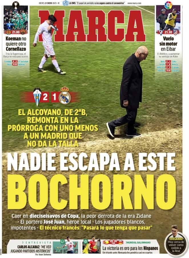 Marca, la prima pagina di oggi 21 gennaio 2021