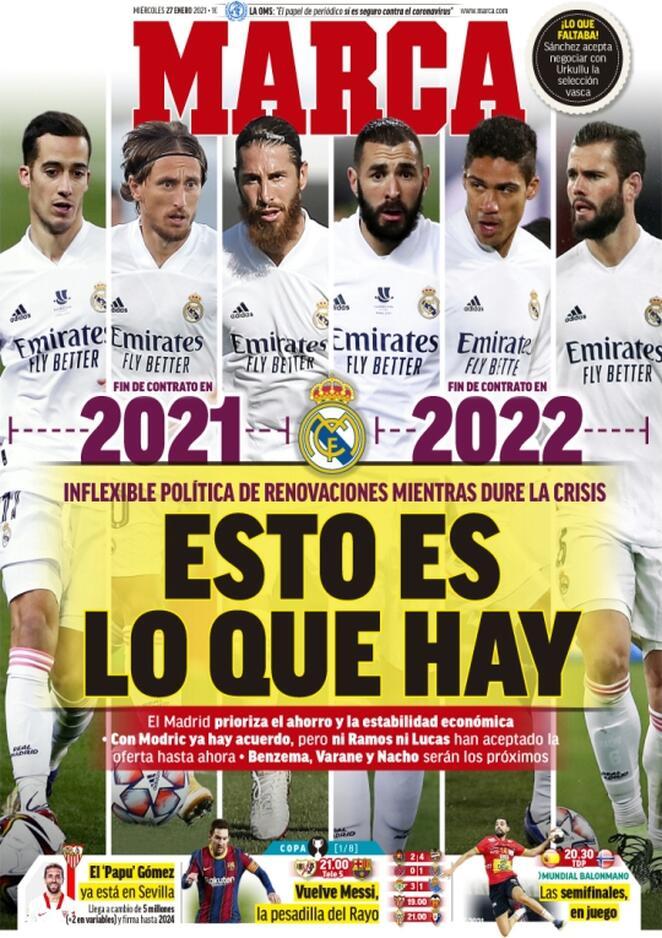 Marca, la prima pagina di oggi 27 gennaio