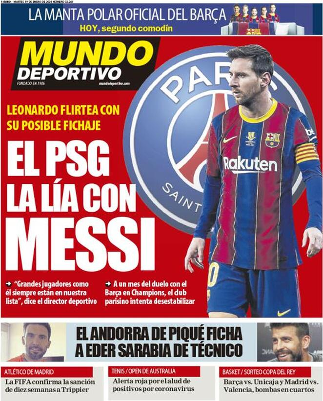 Mundo Deportivo, la prima pagina del 19 gennaio