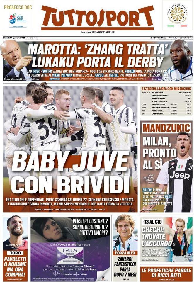 TuttoSport, la prima pagina di oggi 14 gennaio 2021