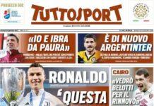 TuttoSport, la prima pagina di oggi 22 gennaio 2021