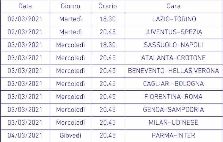 Calendario Serie A 6a giornata
