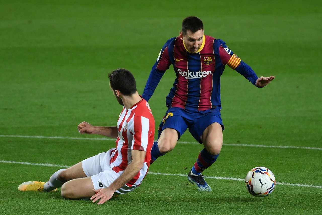 Messi in azione contro l'Athletic