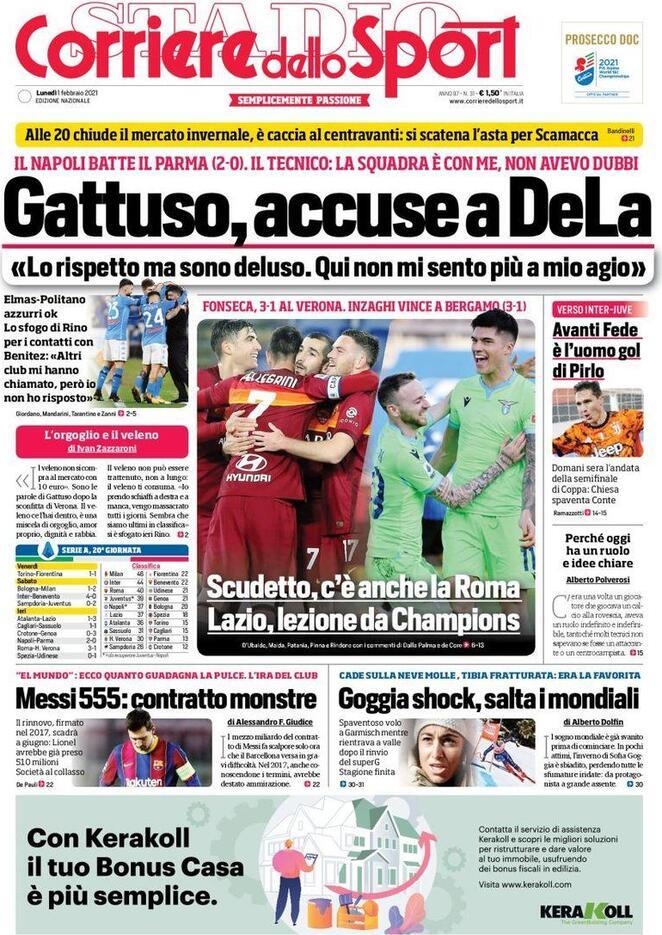 Corriere dello Sport, la prima pagina del 1 febbraio