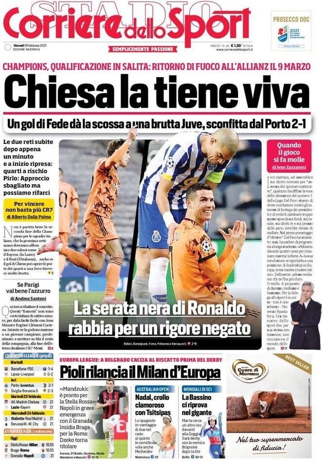 Corriere dello Sport, la prima pagina del 18 febbraio