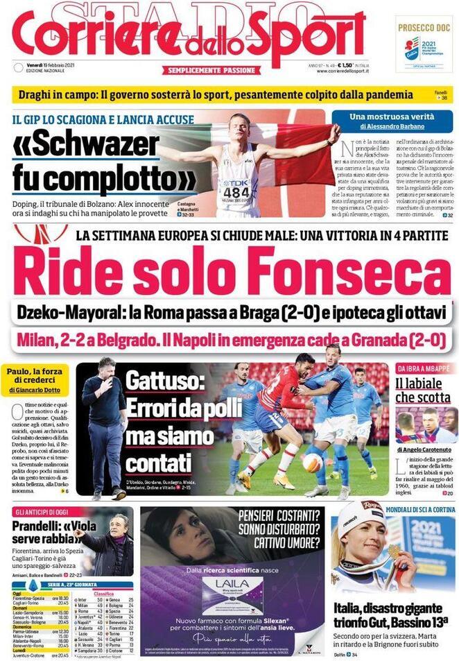 Corriere dello Sport, la prima pagina del 19 febbraio