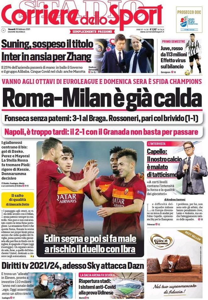 Corriere dello Sport, la prima pagina di oggi 26 febbraio