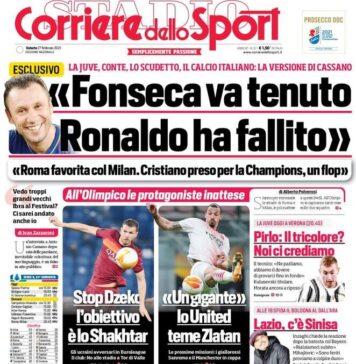 Corriere dello Sport, la prima pagina del 27 febbraio