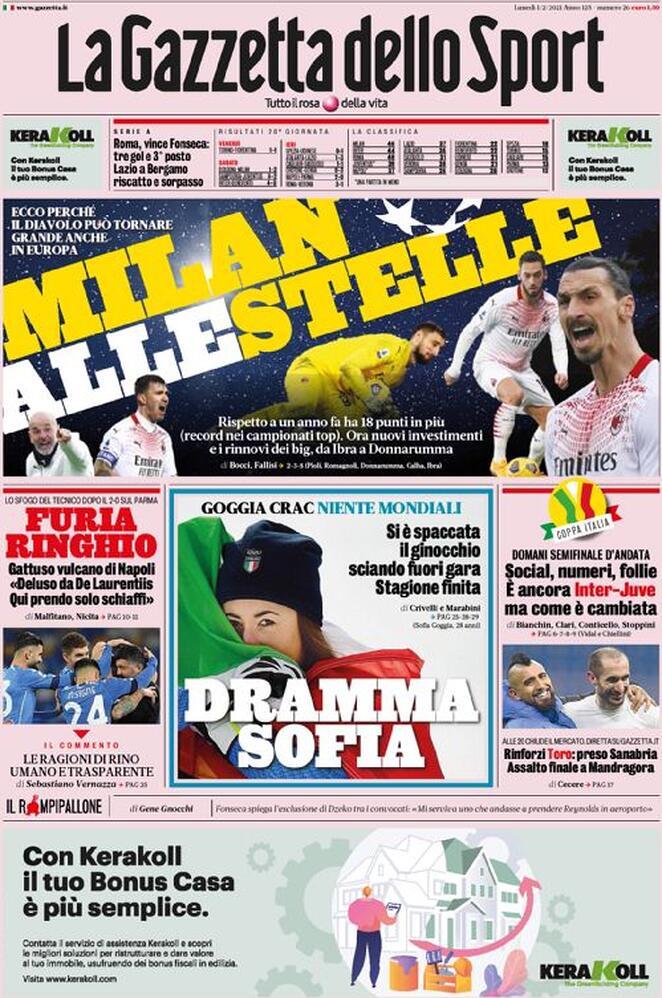 La Gazzetta dello Sport, la prima pagina dell'1 febbraio