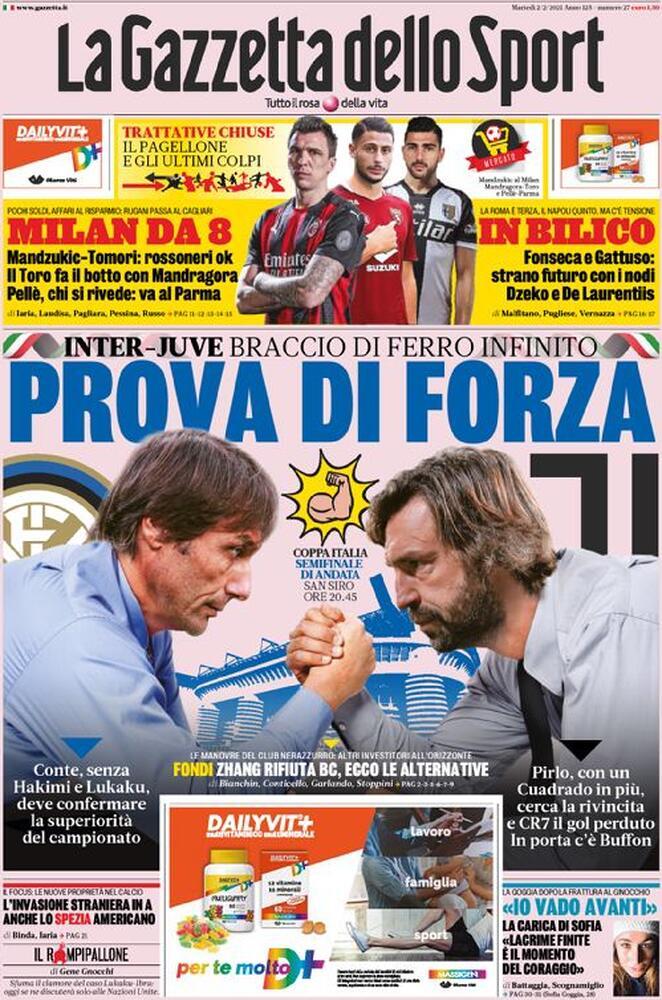 La Gazzetta dello Sport, la prima pagina del 2 febbraio