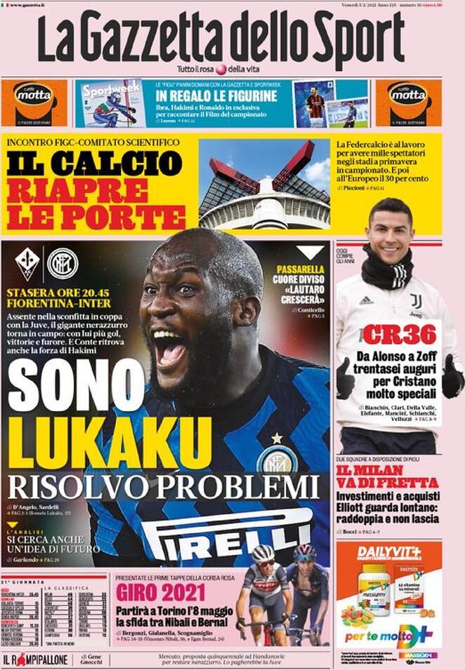 La Gazzetta dello Sport, la prima pagina del 5 febbraio