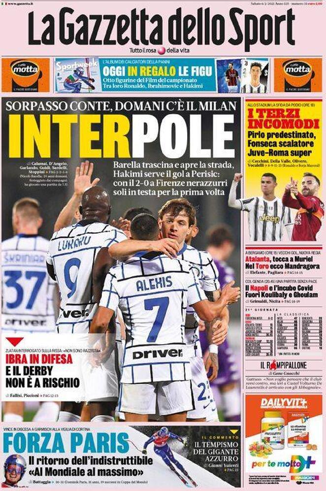 La Gazzetta dello Sport, la prima pagina del 6 febbraio