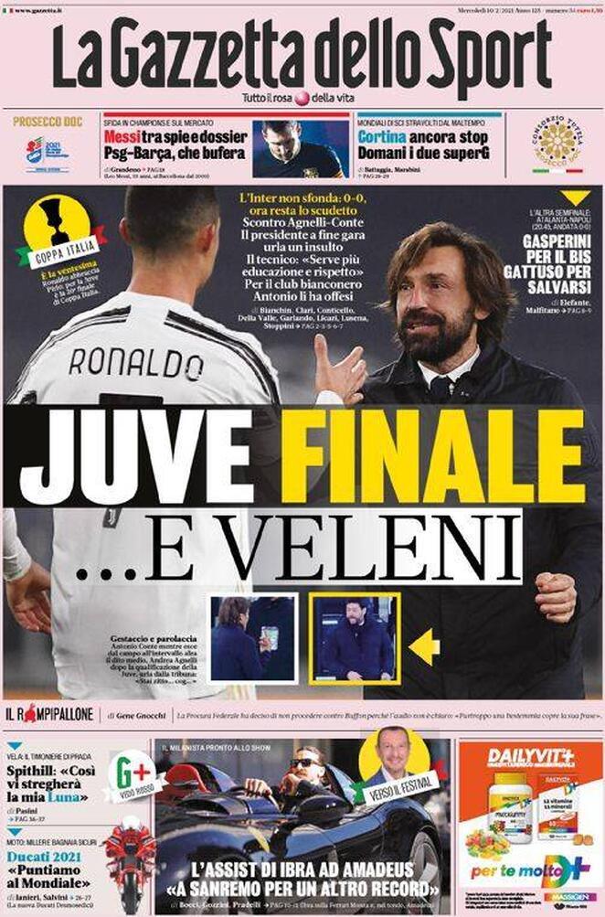 La Gazzetta dello Sport, la prima pagina del 10 febbraio