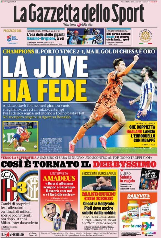 La Gazzetta dello Sport, la prima pagina del 18 febbraio