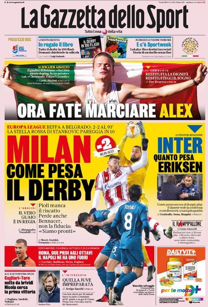 La Gazzetta dello Sport, la prima pagina del 19 febbraio