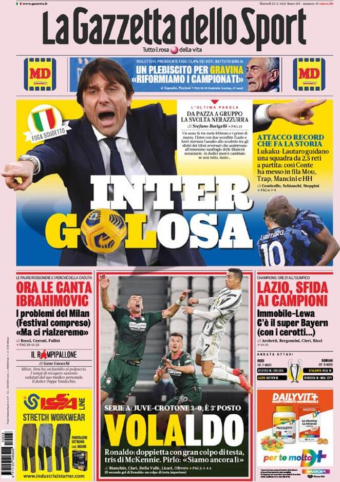 La Gazzetta dello Sport, la prima pagina del 23 febbraio