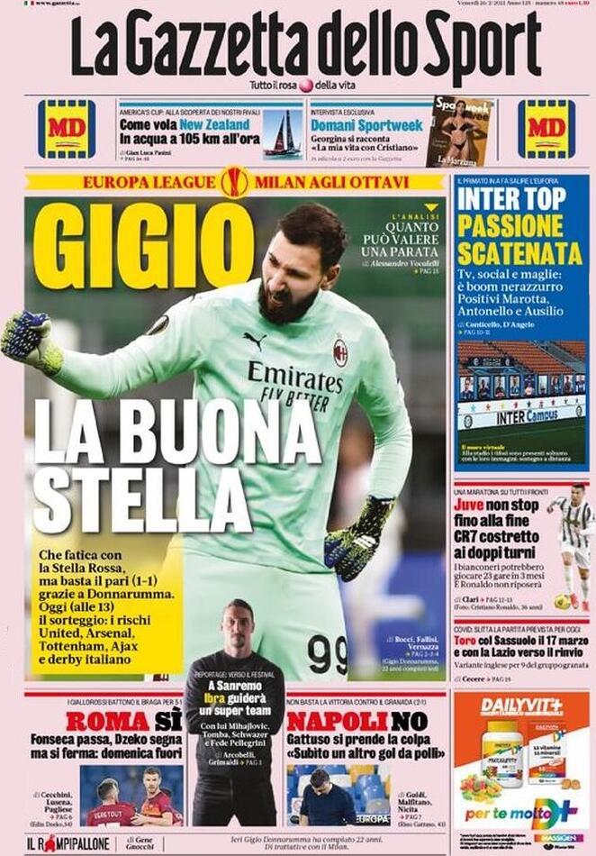 La Gazzetta dello Sport, la prima pagina del 26 febbraio