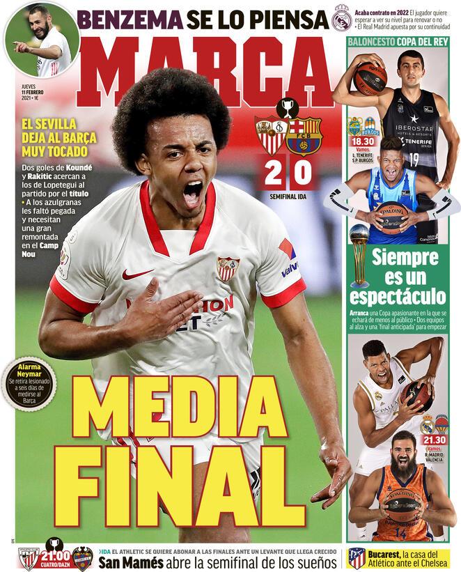 Marca, la prima pagina di oggi 11 febbraio 2021