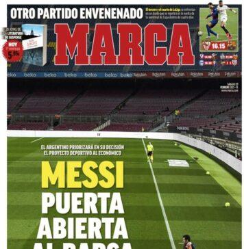 Marca, la prima pagina di oggi 27 febbraio 2021